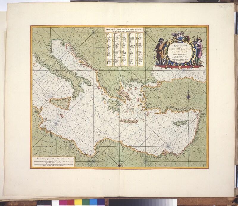 Landkarte (Seekarte) des östlichen Mittelmeers