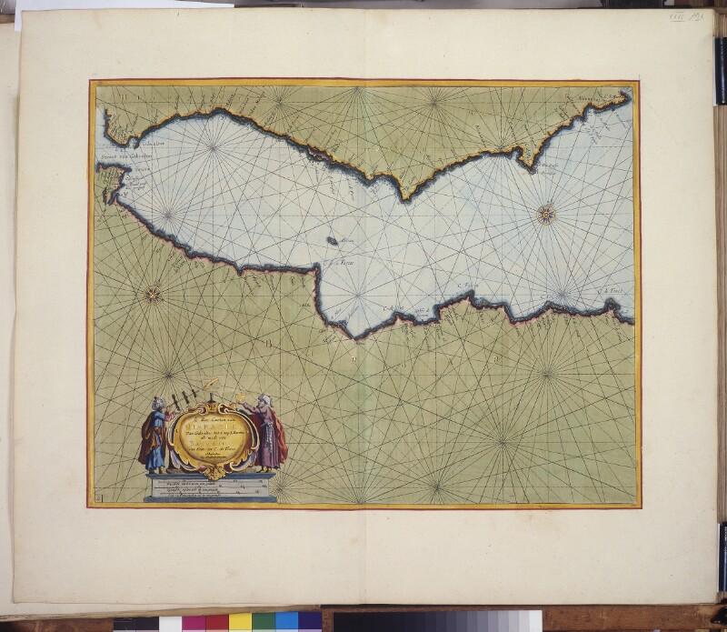 Landkarte (Seekarte) der spanischen, marokkanischen und algerischen Küste
