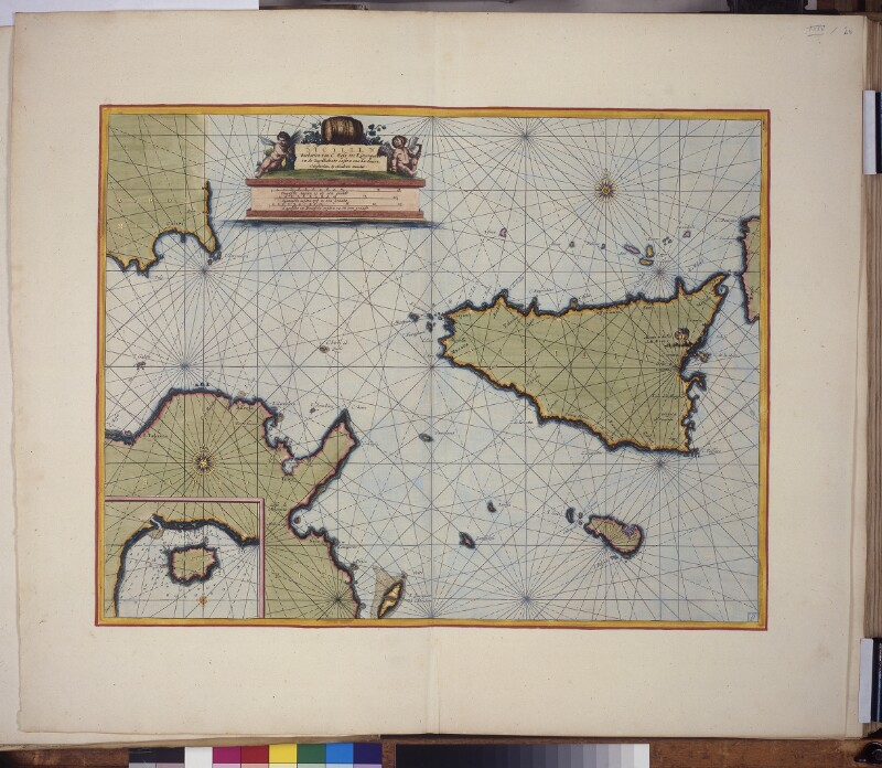 Landkarte (Seekarte) des Mittelmeers zwischen Sizilien, Sardinien und Tunesien