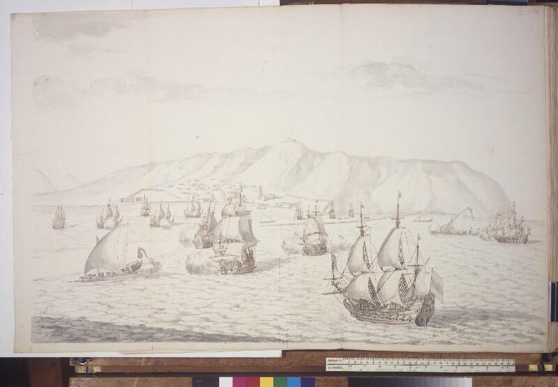 Seeschlacht zwischen holländischen und türkischen Schiffen im Golf von Tunis