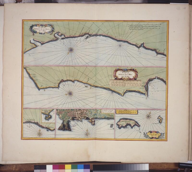 Landkarte (Seekarte) der marokkanischen Küste, der Azoren und von Madeira