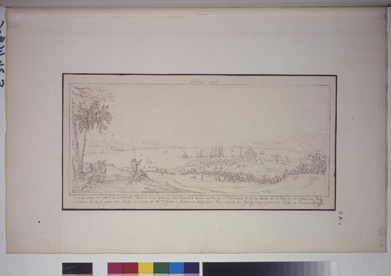 Blick vom Land auf Sues mit einer Karawane von Mekka-Pilgern (Hadschis)