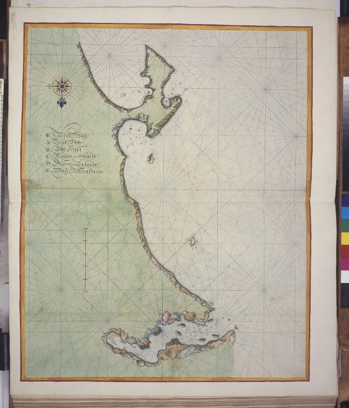 Landkarte der Küste von der Saldanha Bay bis zur False Bay