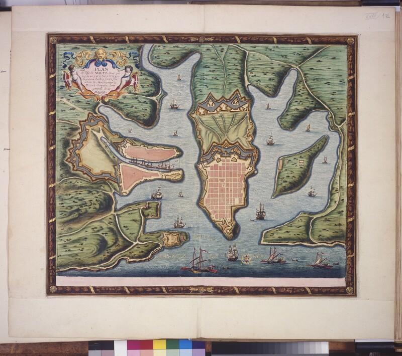 Plan von Valletta mit Hafen