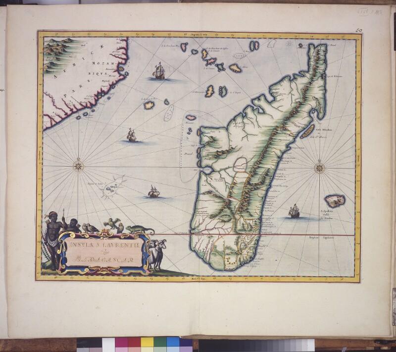 Landkarte von Madagaskar, La Réunion und den Komoren