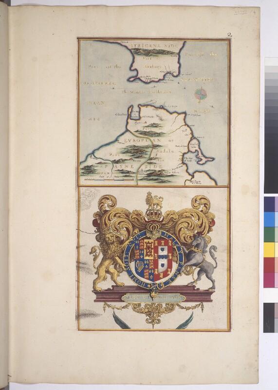 Karte der Straße von Gibraltar und Wappen von König Charles II. von Großbritannien