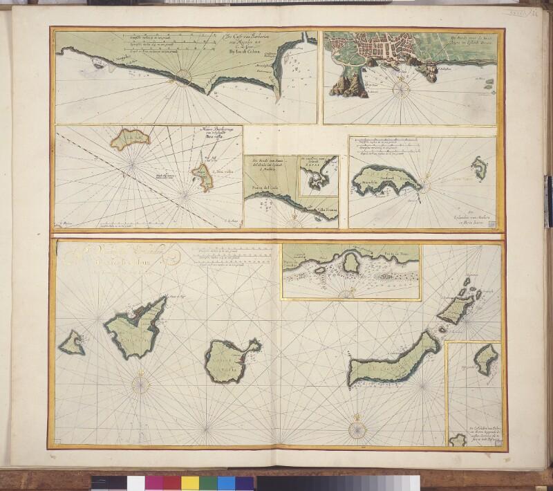 Landkarte der marokkanischen Küste und der Inseln nordwestlich von Afrika