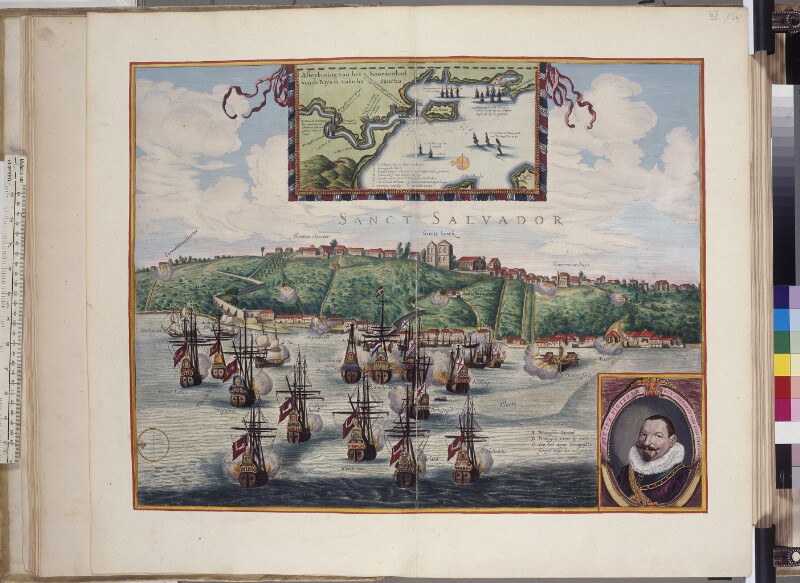 Piet Heins vor Salvador (Bahia) auf Reede liegende Flotte im Jahre 1627