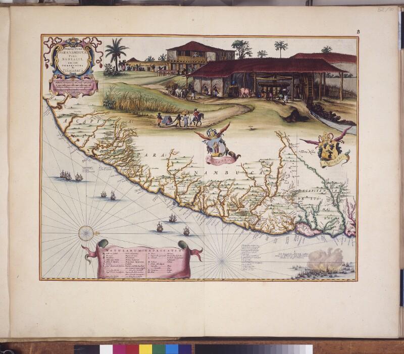 Landkarte von Pernambuco und Itamaracá, mit Abbildung einer Zuckermühle