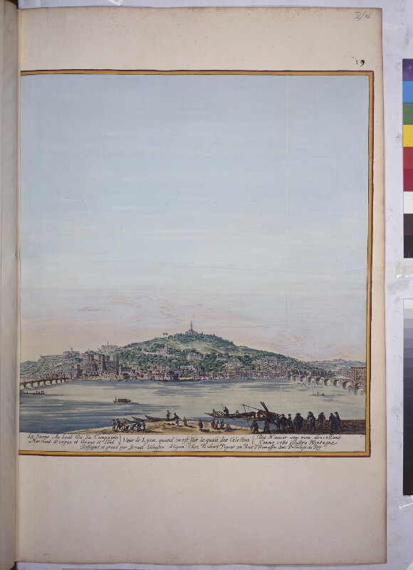 Blick auf Lyon mit dem Fluß Saône und dem Fourvière-Hügel