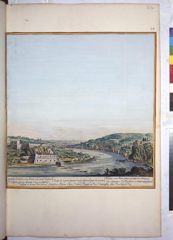 Blick von Norden auf Lyon und den Fluß Saône