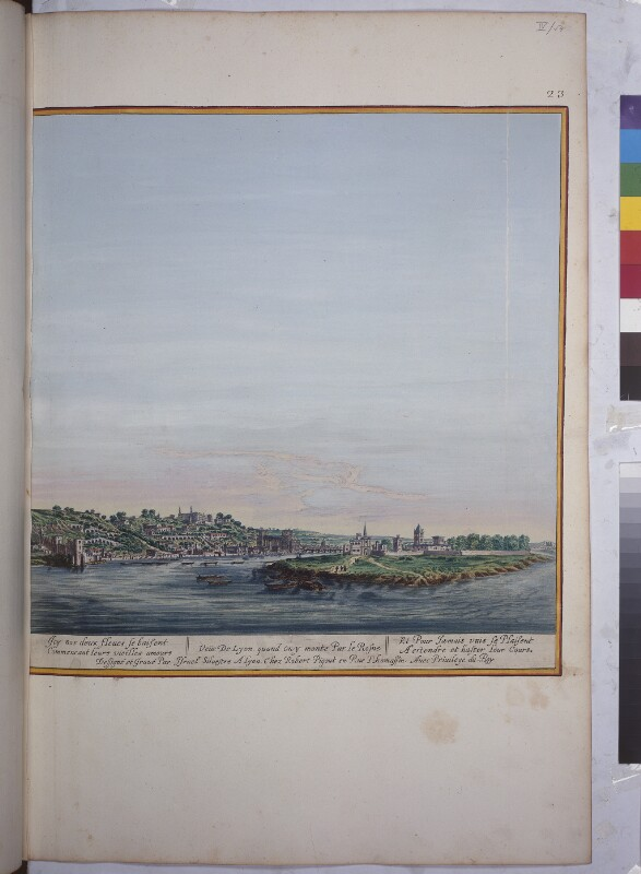 Ansicht auf den Zusammenfluss von Rhône und Saône in Lyon