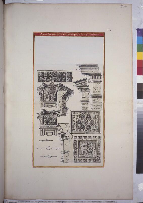 Deckenleiste, Kapitell und Bodenmosaik des Dianatempels in Nîmes