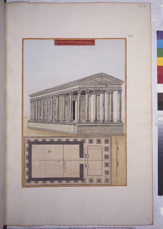 Aufriss und Plan der Maison Carrée in Nîmes