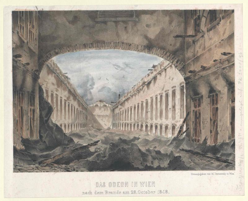 Das Odeon in Wien nach dem Brande am 28. October 1848