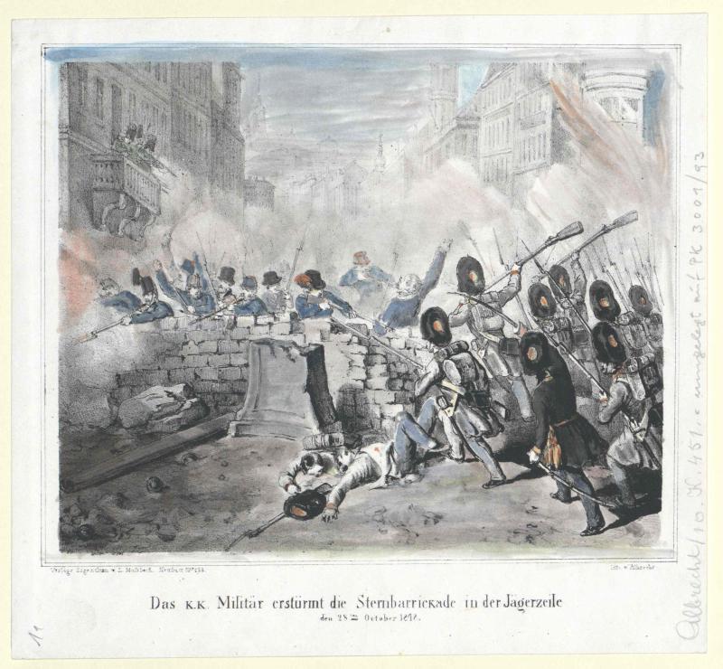 Das k.k. Militär erstürmt die Sternbarrickade in der Jägerzeile den 28ten October 1848