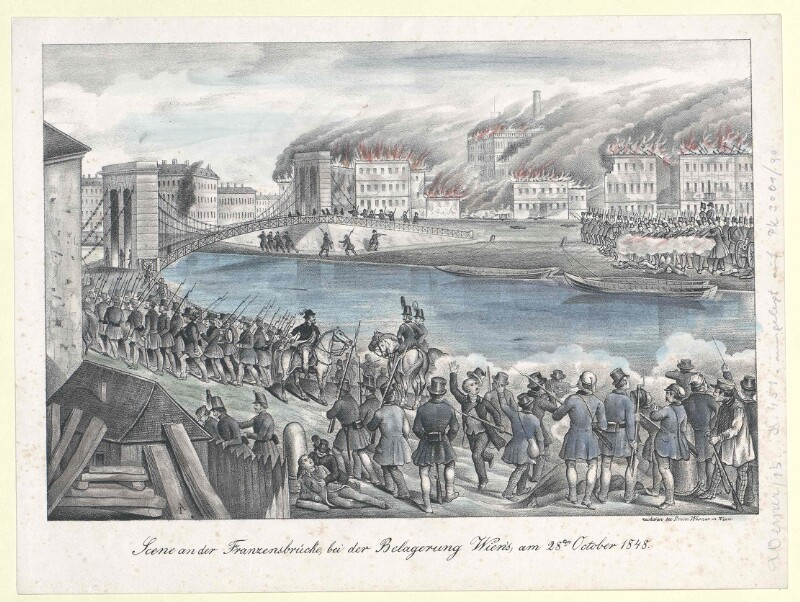 Scene an der Franzensbrücke, bei der Belagerung Wien's, am 28ten October 1848