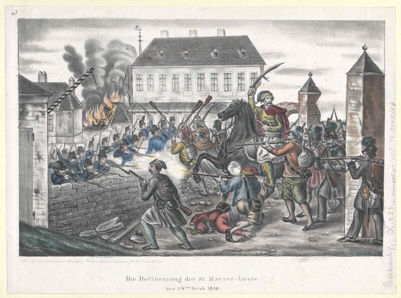 Die Bestürmung der St. Marxer-Lienie den 28ten Octob. 1848