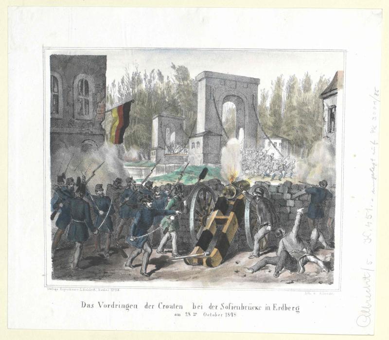 Das Vordringen der Croaten bei der Sofienbrücke in Erdberg am 28ten October 1848