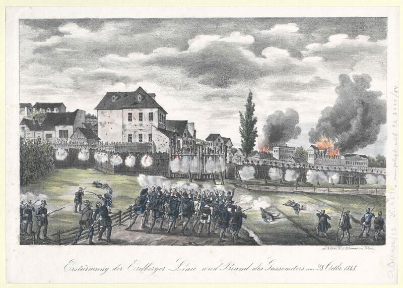 Erstürmung der Erdberger-Linie und Brand des Gassemeters am 28. Octbr. 1848