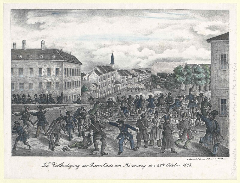Die Vertheidigung der Barrikade am Rennweg den 28ten October 1848