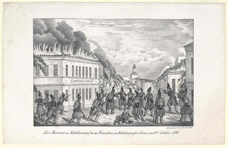 Der Brand in Matzleinsdorf bei der Einnahme der Matzleinsdorfer Linie am 28ten October 1848