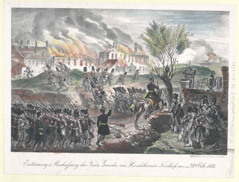 Erstürmung u. Beschiessung des Neuen-Grundes vom Hundsthurmer-Friedhofe aus am 28ten Octbr. 1848