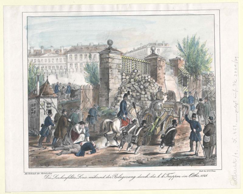 Die Lerchenfelder Linie während der Belagerung durch die k.k. Truppen im Octber 1848