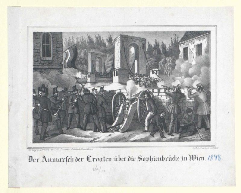 Der Anmarsch der Croaten über die Sophienbrücke in Wien