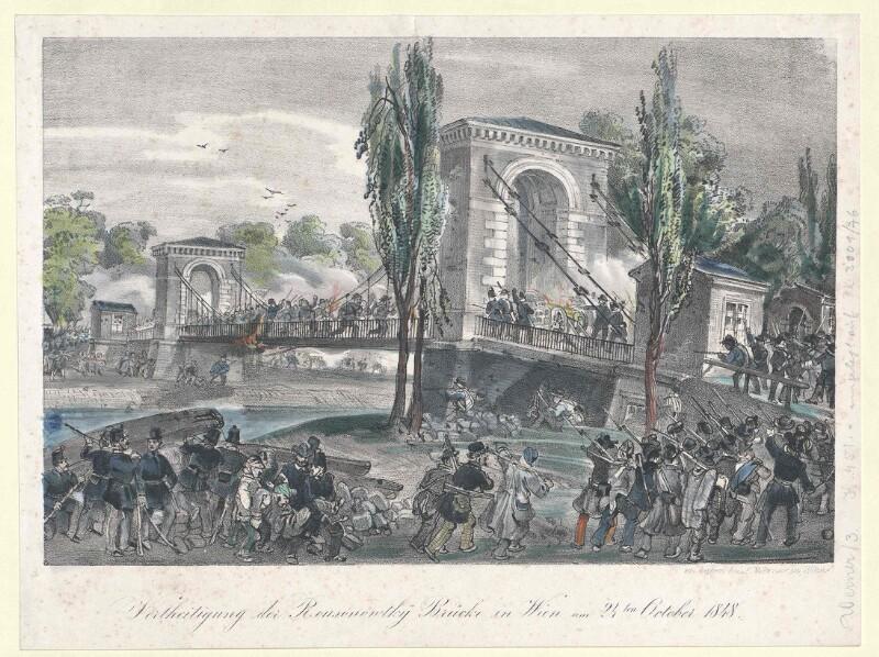 Vertheidigung der Rousonowtky Brücke in Wien am 24ten October 1848