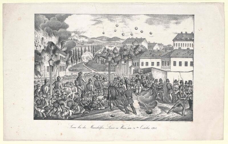 Scene bei der Mariahilfer Linie zu Wien, am 26ten October 1848