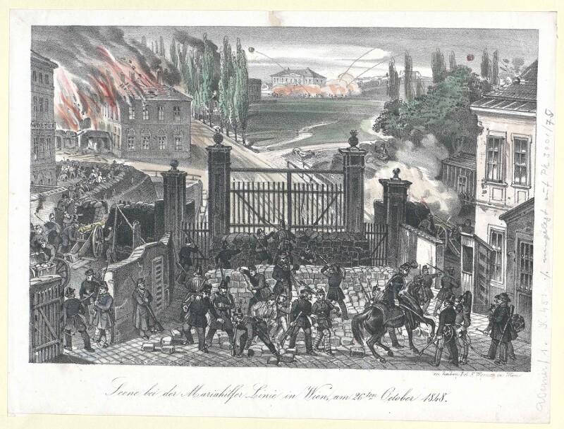 Scene bei der Mariahilfer Linie in Wien, am 26ten October 1848