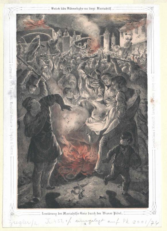 Zerstörung der Mariahilfer Linie durch den Wiener Pöbel