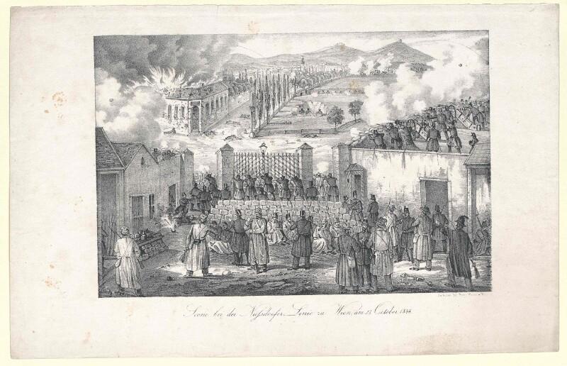 Scene bei der Nussdorfer Linie zu Wien, am 23. October 1848