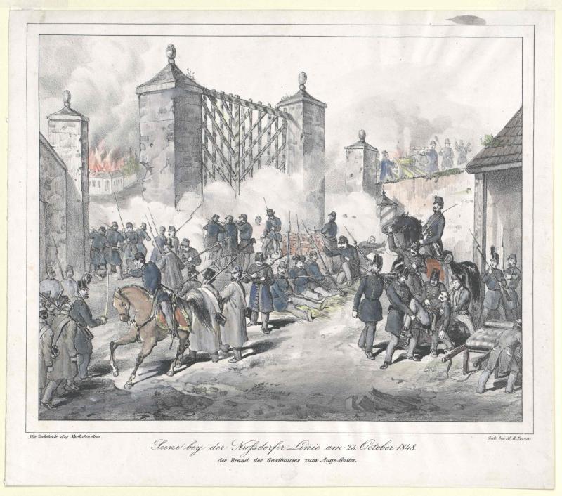 Scene bey der Nussdorfer Linie am 23. October 1848, der Brand des Gasthauses zum Auge Gottes