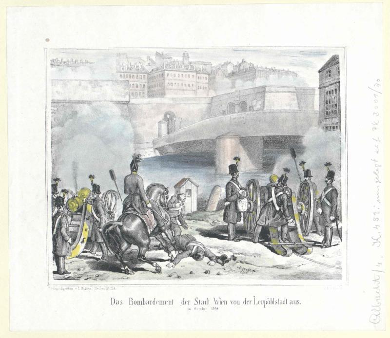 Das Bombardement der Stadt Wien von der Leopoldstadt aus, im October 1848