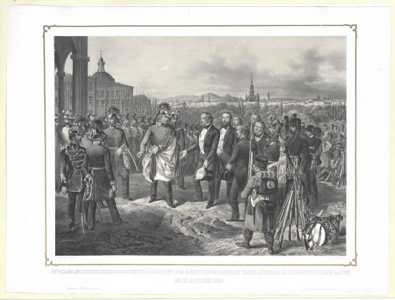 Unterhandlung des Reichstags-Abgeordneten Borrosch mit dem comandirenden Generalen Grafen Auersperg im Schwarzenberg'schen Garten am 12. October 1848