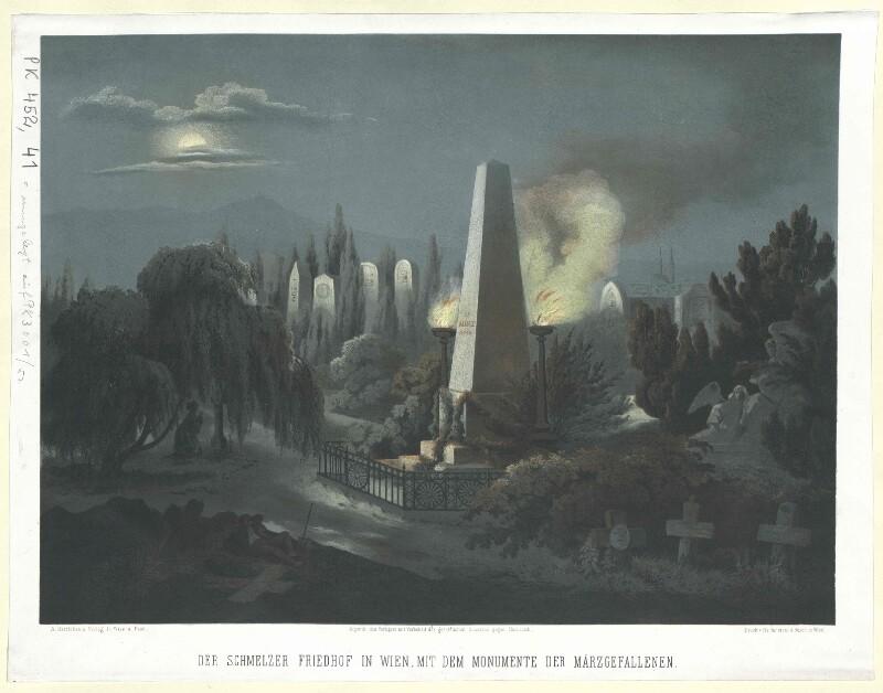 Der Schmelzer Friedhof in Wien, mit dem Monumente der Märzgefallenen
