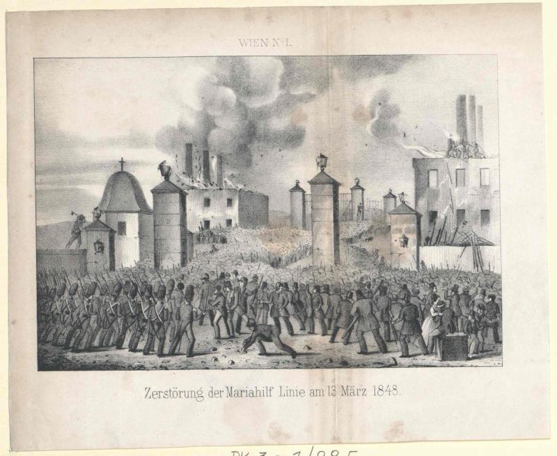 Zerstörung der Mariahilf Linie am 13. März 1848