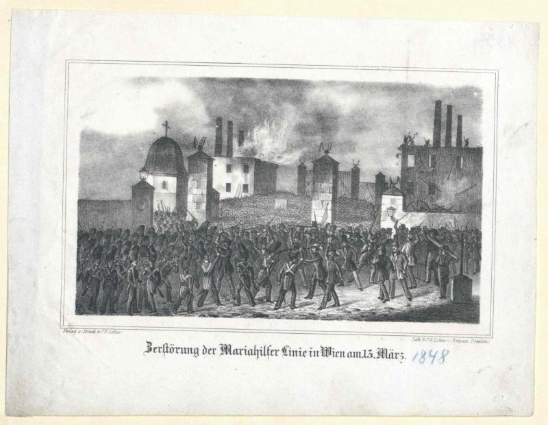 Zerstörung der Mariahilfer Linie in Wien am 13. März