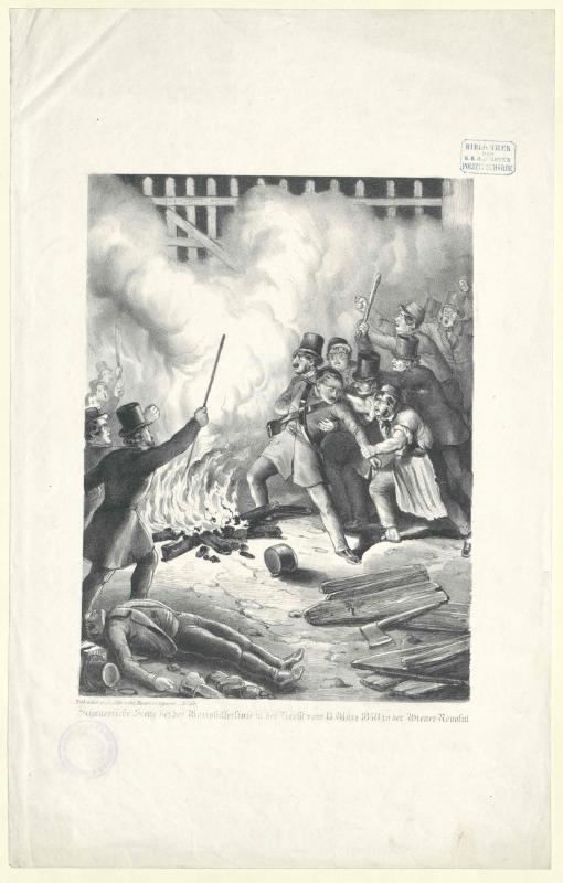 Schauerliche Scene bei der Mariahilferlinie in der Nacht vom 13. März 1848 in der Wiener-Revolut[ion]
