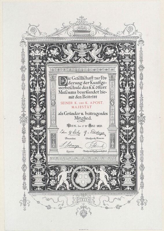Diplom für Franz Josef I., Kaiser von Österreich