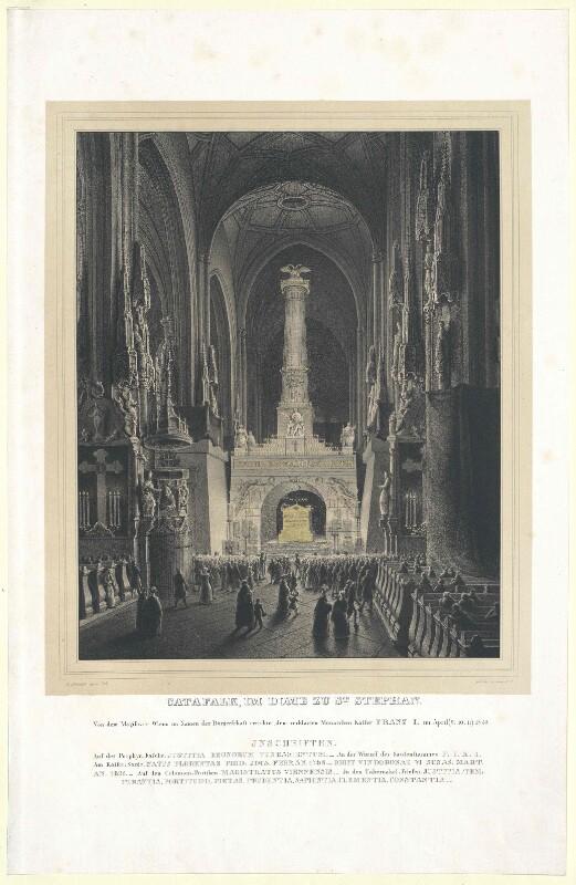 Katafalk für Franz II., römisch-deutscher Kaiser, im Stephansdom in Wien