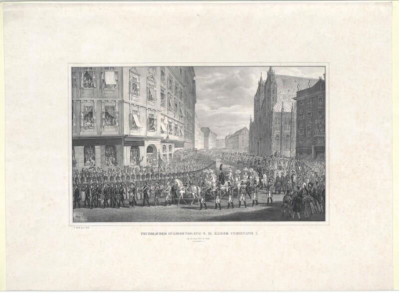 Feyerlicher Huldigungs-Zug S. M. Kaiser Ferdinand I. am 14. Juny 1835 in Wien