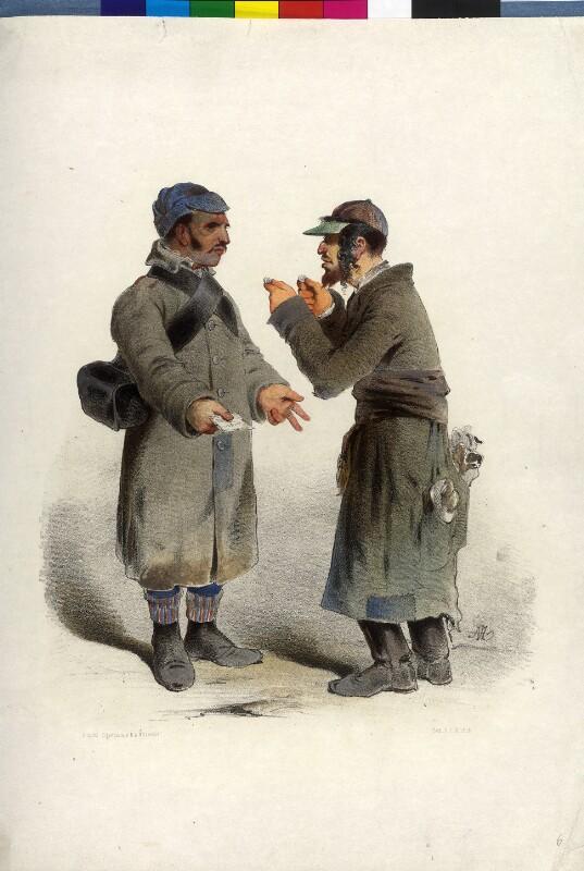 Soldat und Jude beim Feilschen