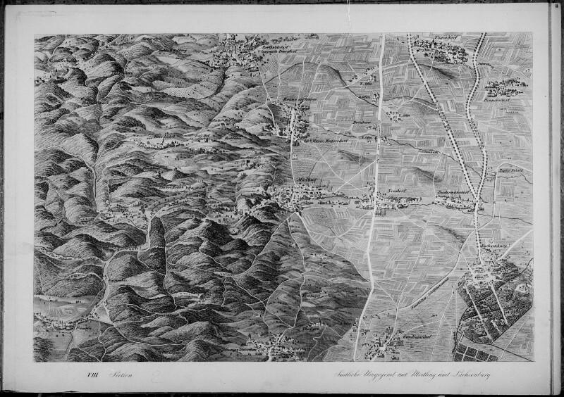 Perspektivkarte der Umgebung Wiens