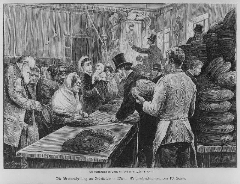 """""""Die Brothverteilung an Arbeitslose in Wien"""", 1892"""
