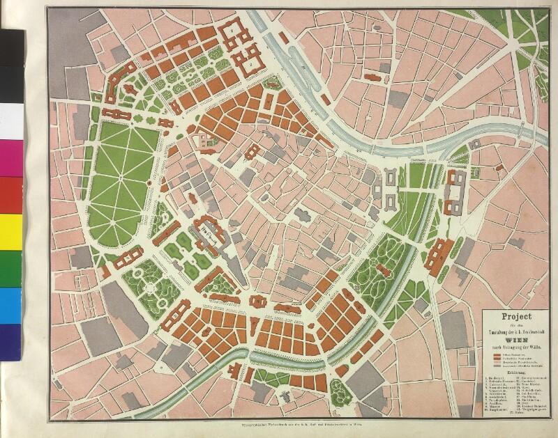 Plan zur Stadterweiterung von den Architekten Sicardsburg / van der Nüll