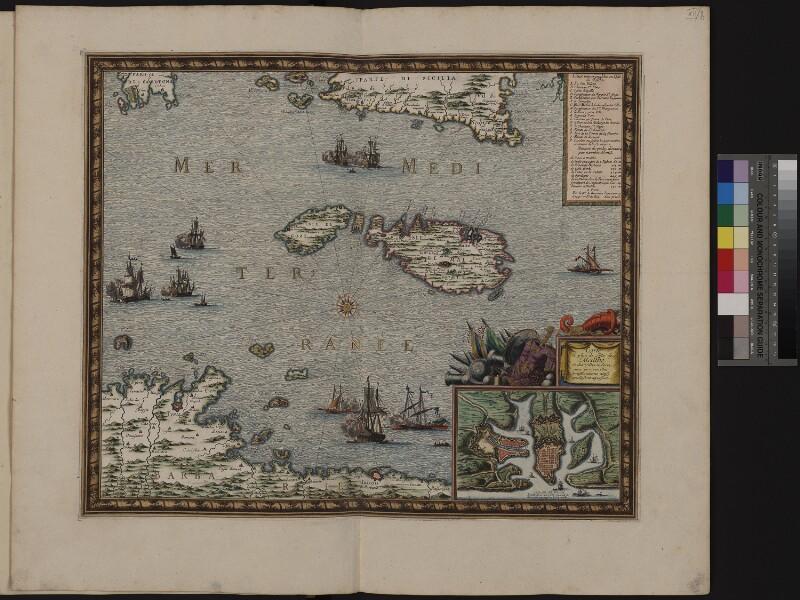 Landkarte von Malta mit Plan von Valletta