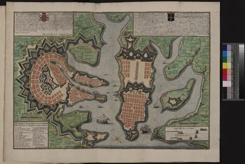Landkarte der alten und neuen Befestigungen rings um den Grand Harbour von Malta